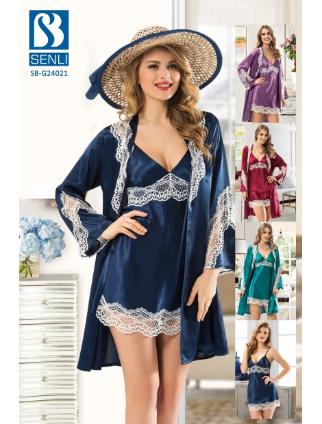 Satin Night Gown Twin Set